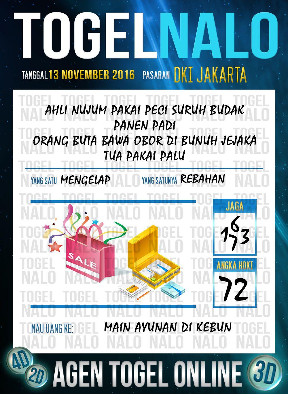 Angka Main 4D Togel Wap Online Live Draw 4D TogelNalo DKI Jakarta 13 November 2016