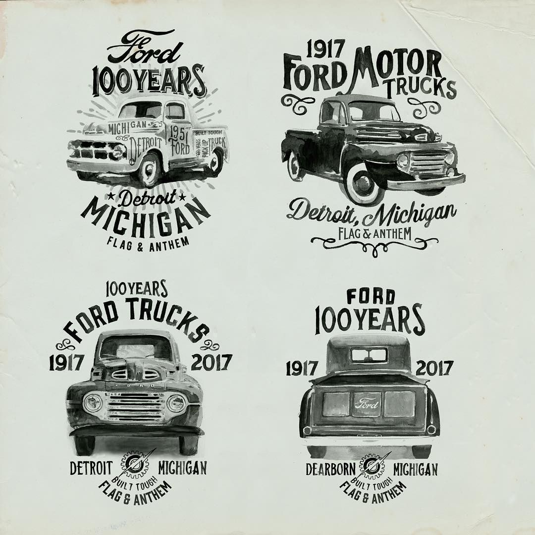 Glennwolk Flag And Anthem Ford Motor Company Collaboration Here Are A Few More Designs I Worked On For The 100th A Ford Trucks Ford Motor Company Ford Motor