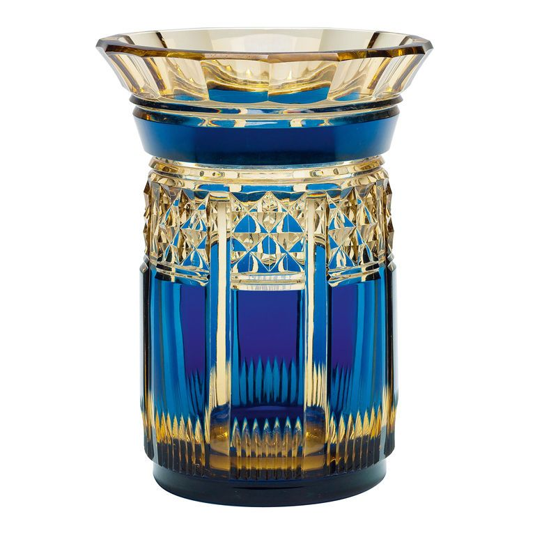 An Art Deco 'Palacio' Val St Lambert Vase / Belgium / 1926 / In 'Topaz' and 'Bleu Francais'. The faceted sides cut with flutes and diamonds and having a flared faceted lip