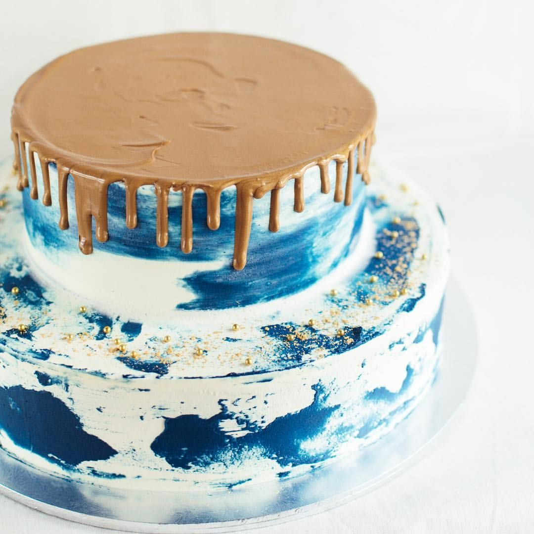 Navy Blue Marble With Gold Drizzle With Images Mint Cake