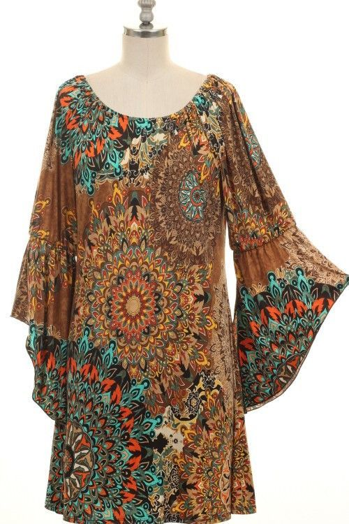 (pre-order) Mocha Geo Tunic Dress with Bell Sleeves