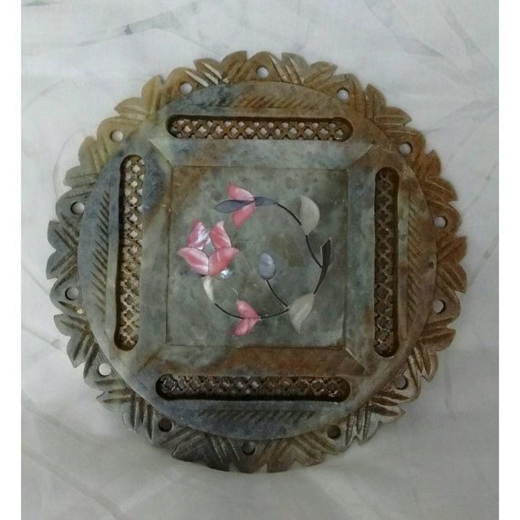 Beautiful Soapstone Plate with Cut Out Trellis Mother by BoBisBit