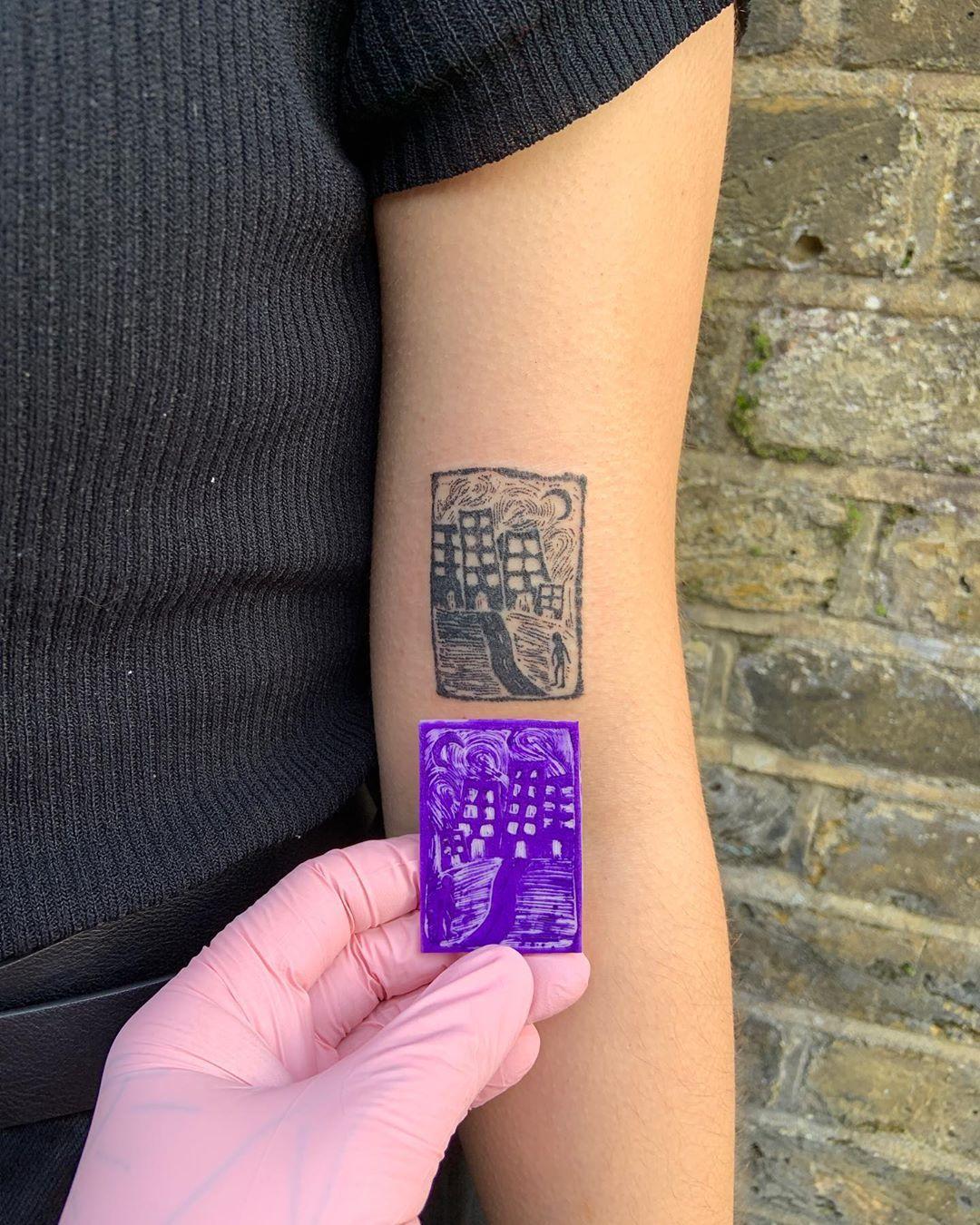 "Photo of @lou_isnt shared a photo on Instagram: ""custom city scape for Sophia . . . . . . #stickandpoke #handpoke  #handpoketattoo #homemadetattoo  #ignorantstyletattoo #tattoo #tttism…"" • Feb 10, 2020 at 11:49am UTC"