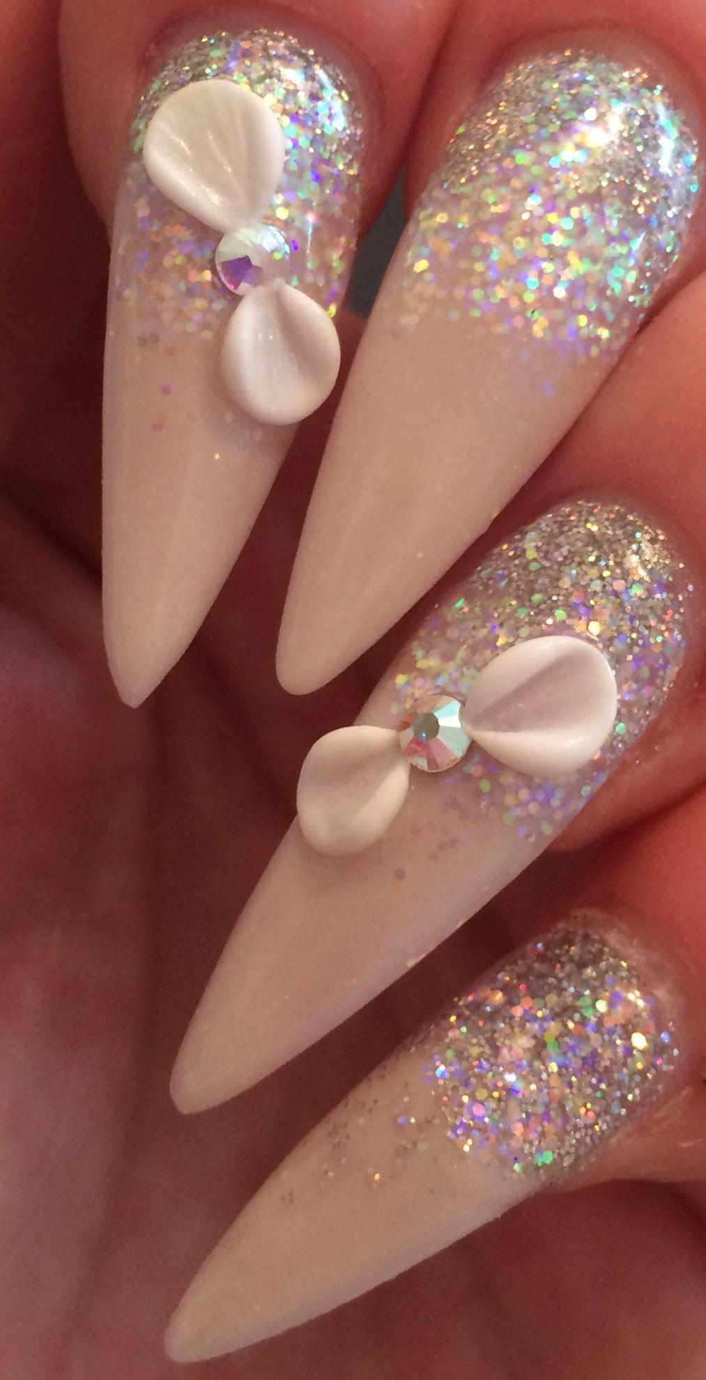 Pretty 3d Acrylic Bows Stiletto Glitter Fade Acrylic Nail Designs Pretty Nails Classy Trendy Nails