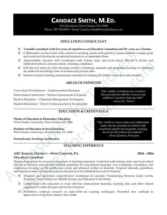 This Education Consultant Resume Sample AKA Curriculum Vitae