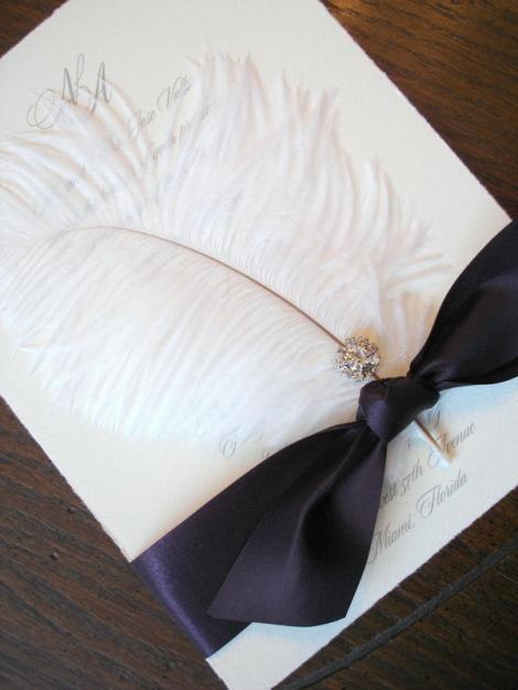 wedding invitation elegant high end feather crystal unique bling handmade