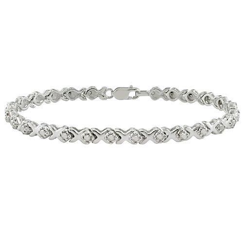 1 Ct T W Diamond Tennis Bracelet In Silver I3 7 25 In Length Amour 296 00 Mens Bracelet Silver Personalized Silver Bracelets Silver Bracelets For Women