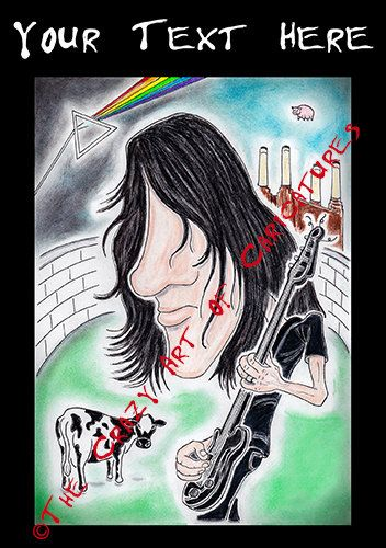 Roger Waters Pink Floyd Caricature Personalised Text Greeting Card