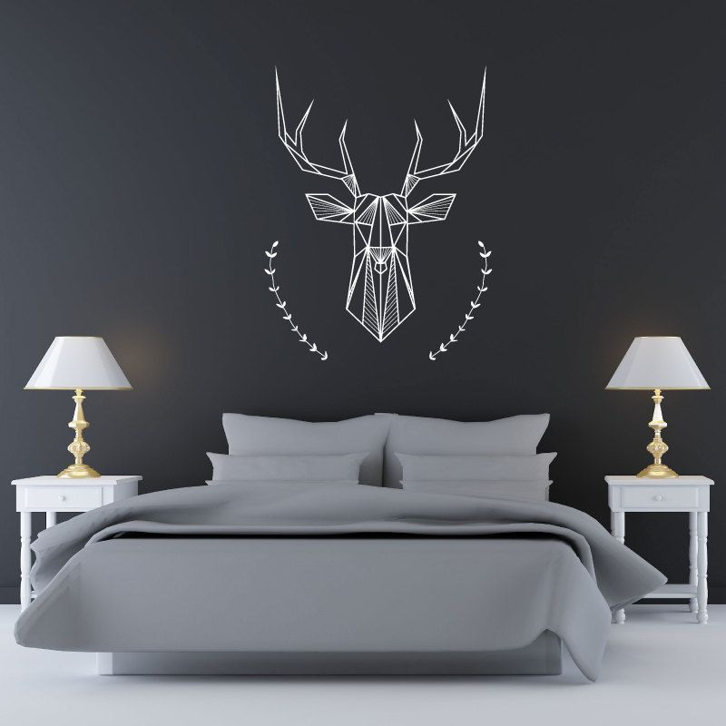 Bedroom Wall Decal: Geometric Deer And Antlers (20.00 USD