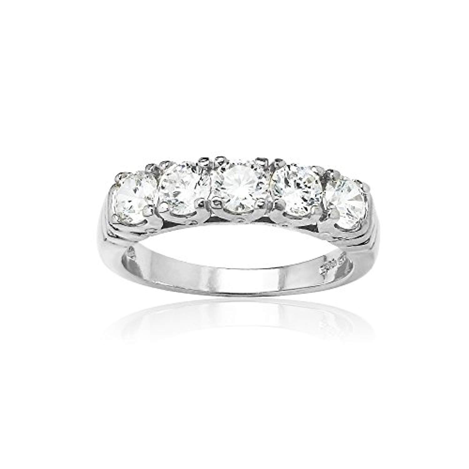 d1f7175face03 Sterling Silver Five Stone Eternity Ring created with Swarovski ...
