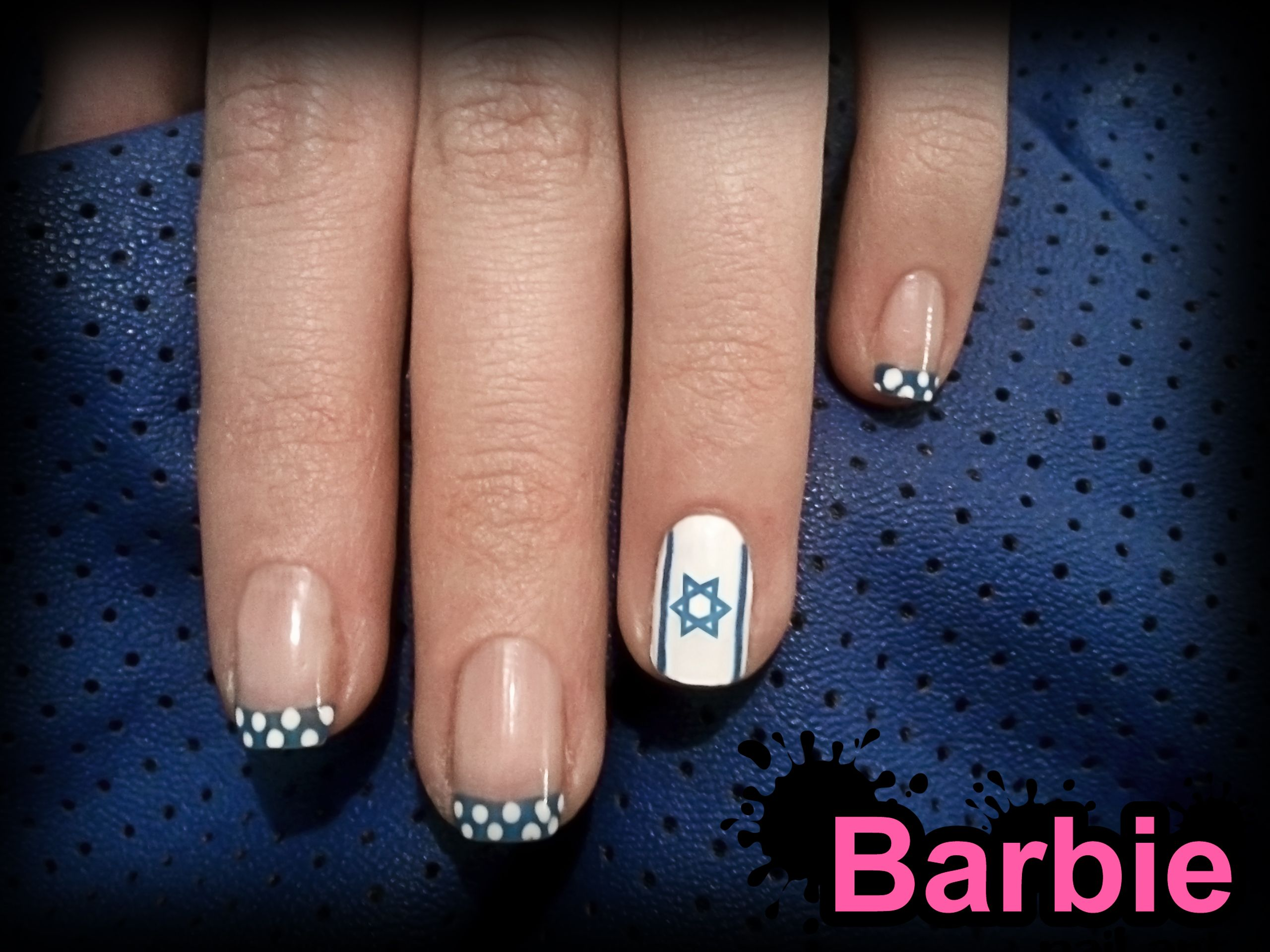 Israeli Flag Nails - Israeli flag nail design With blue french and ...