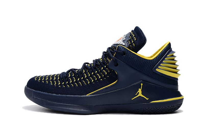 info for 9dca4 9f653 2017 Air Jordan 32 Low Michigan PE Navy Blue Yellow Shipping-2