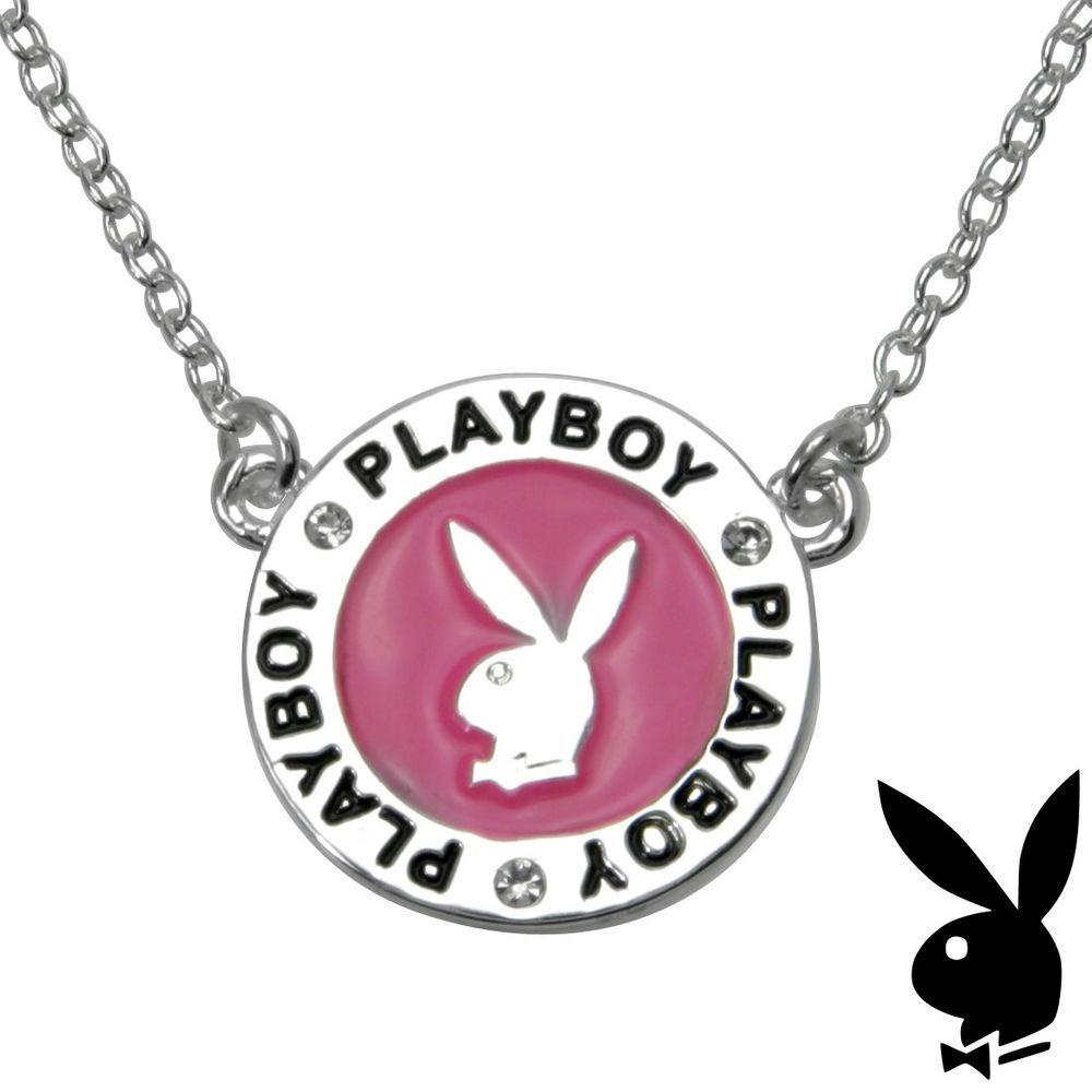 CHRISTMAS Playboy Necklace Silver Bunny Pendant w Chain Swarovski ...
