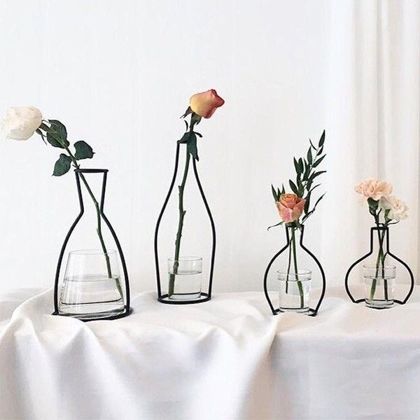 Nordic Metal Vase (35 Cad) Via Polyvore Featuring Home, Home Decor