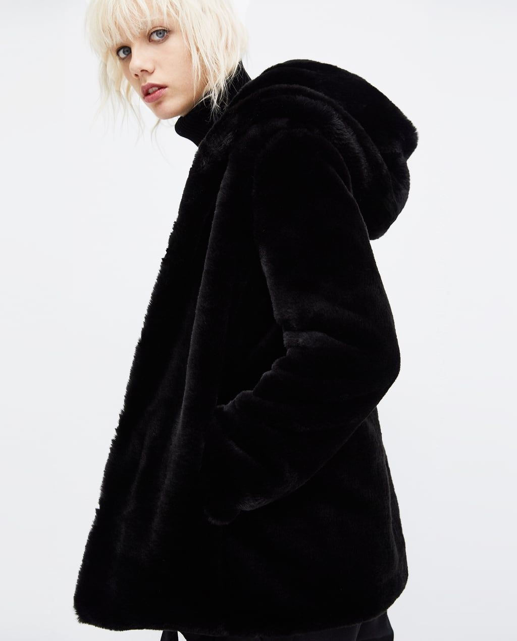 image 4 of coat with faux fur hood from zara envies. Black Bedroom Furniture Sets. Home Design Ideas