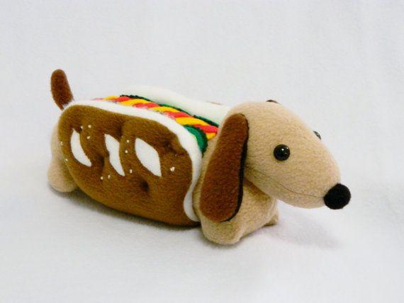 Stuffed Pretzel Hot Dog Pickles Dachshund Plush By Mamamayberrys