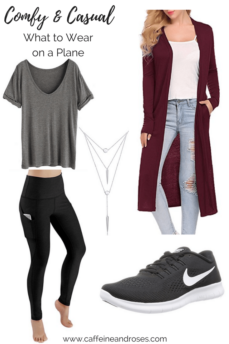 What To Wear On A Plane 5 Stylish Comfortable Outfits C R Blog Casual Travel Outfit Fashion Travel Outfit Comfy Airport Outfit