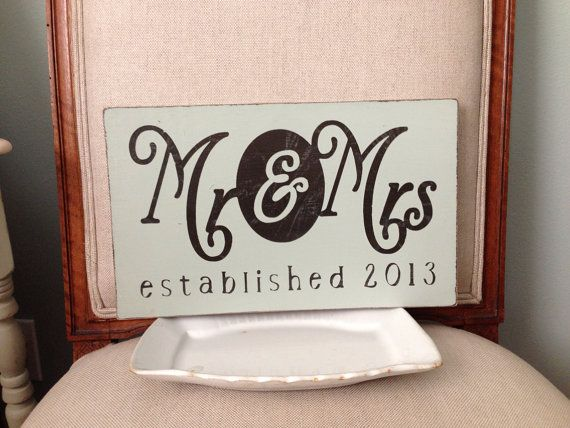Wedding sign Mr. & Mrs. established by WellNestedDesign on Etsy, $32.25