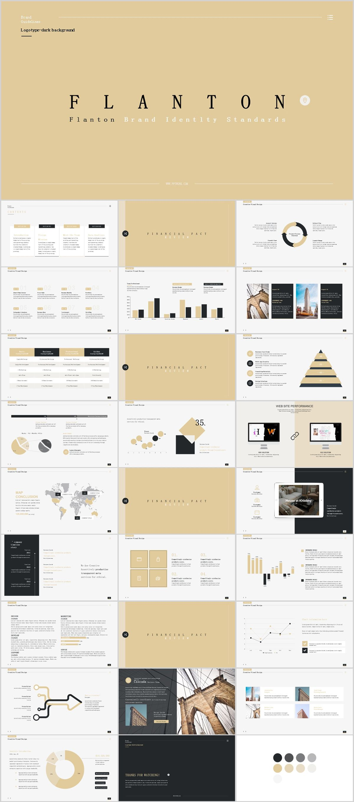 28 beige fashion annual work powerpoint template on behance