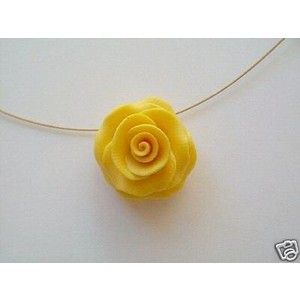 Stunning handmade flower pendant necklace yellow rose yellow rose stunning handmade flower pendant necklace yellow rose mozeypictures Image collections
