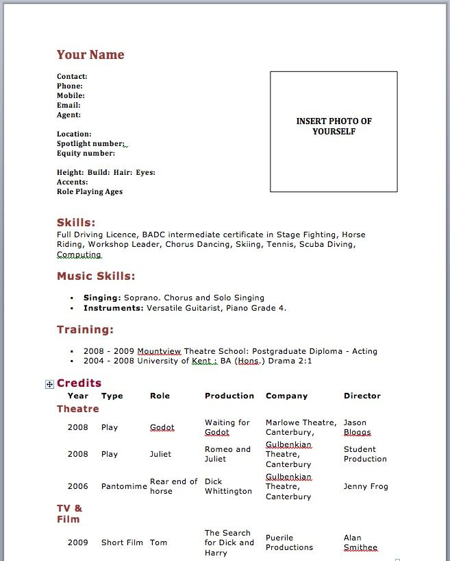 Resume Setup Example Acting Resume Template No Experience  Httpwwwresumecareer