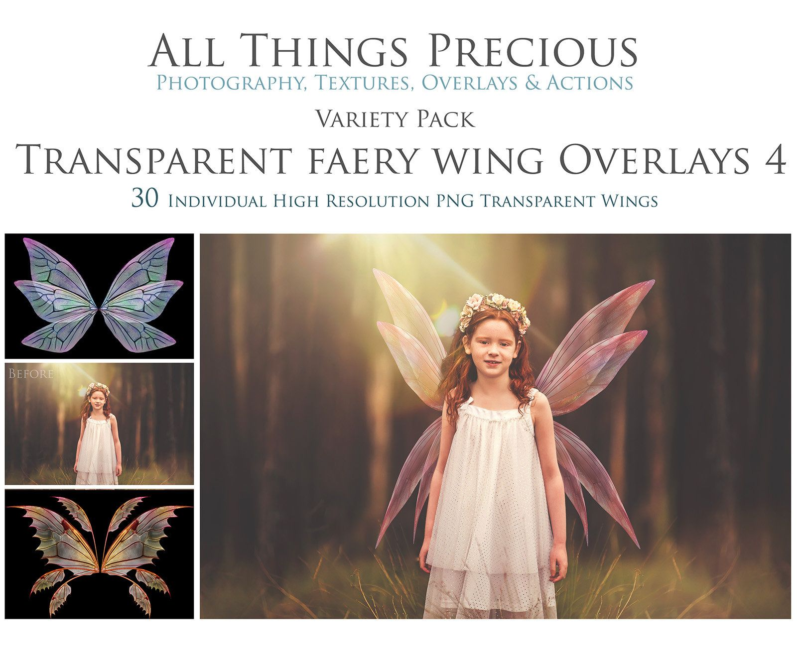 Overlays Variety Pack 30 Png Transparent Fairy Wings No 4 Etsy Photoshop Overlays Fairy Wings Photoshop