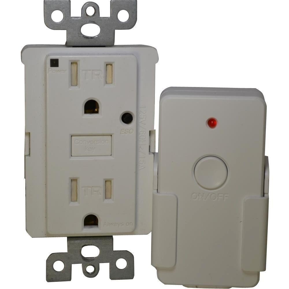 Energy Saving 15-Amp Duplex Outlet with Remote - White   Remote ...