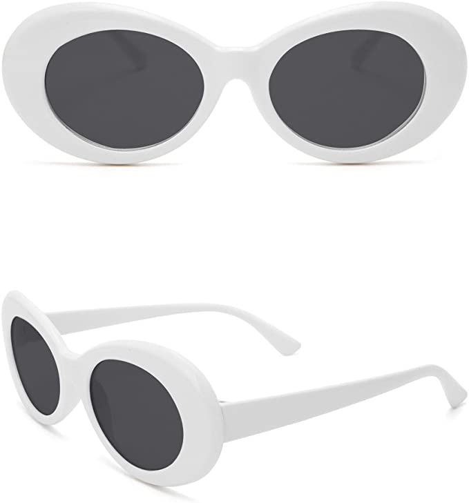 Amazon Com Retro Unisex Sunglasses Uv400 Resin Oval Lens Plastic Frame Clout Goggles White Gray Clothi Unisex Sunglasses Sunglasses Best Mens Sunglasses