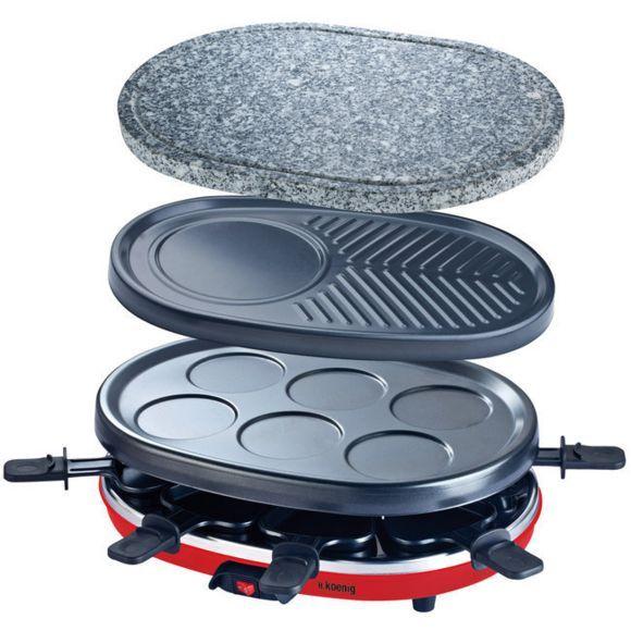 h.koenig - appareil à raclette 4 en 1 : raclette, crêpiere, grill