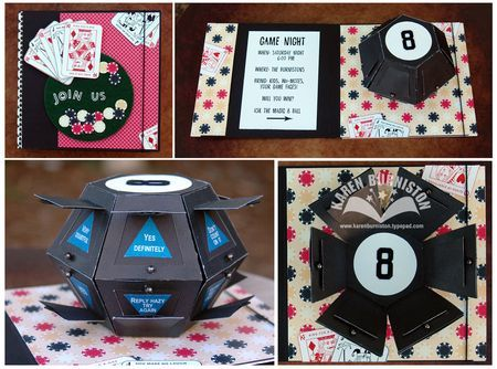 Monday memories pop up ball die game night cards and scrapbook rent a theme has a scrapbook theme kit to make great invitation cards game night card stopboris Choice Image