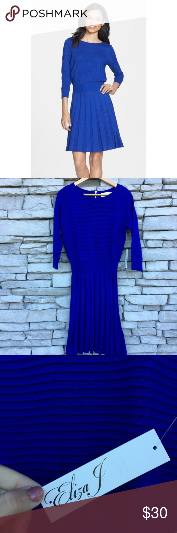 Eliza j small blue blouson pleated sweater dress