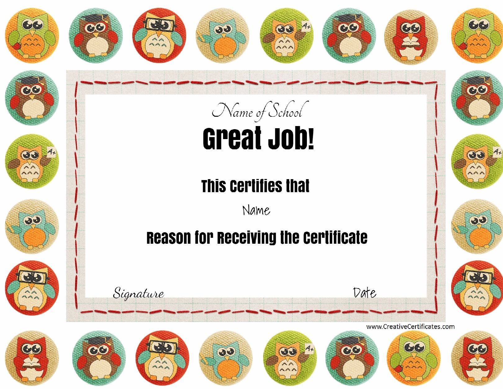 great job award with colored owls the title great job and all