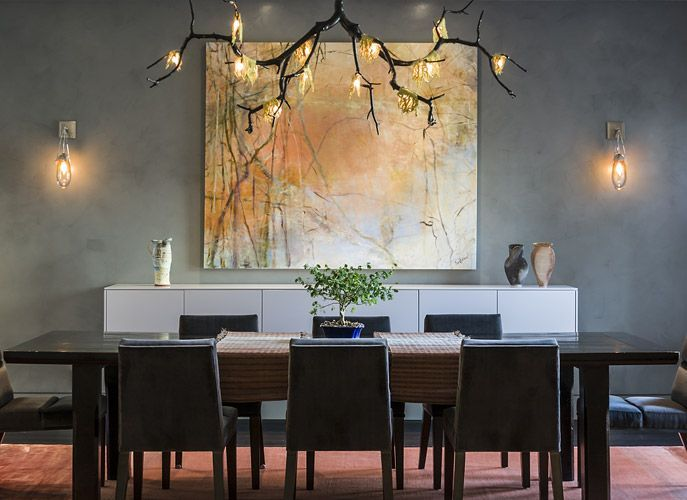 Contemporary Dining Room With Currey Company Rainforest Grand 74 Wide Chandelier Wall Sconce