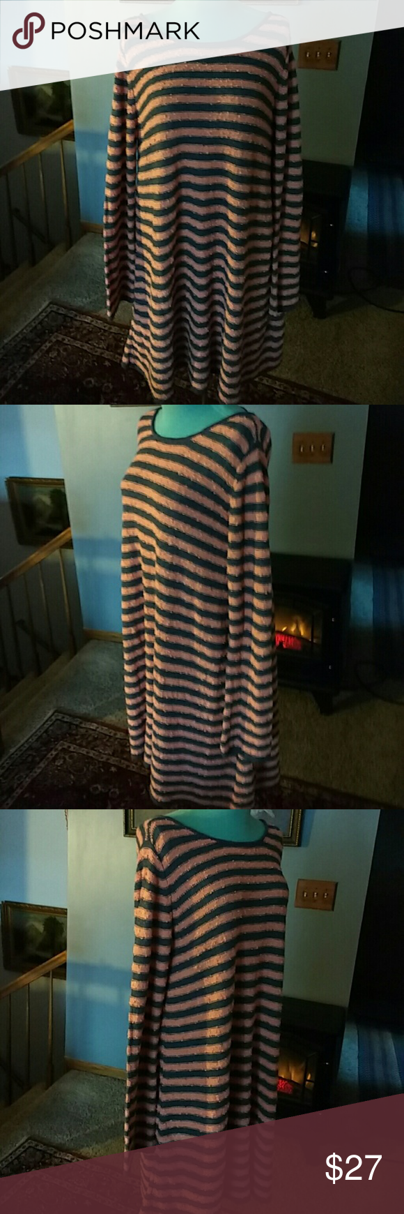 "Free People Sweater Dress Graphite grey and Orange cotton sweater dress with a V neckline in the back has never been worn looser fit great for layering is 33"" long Free People Dresses"