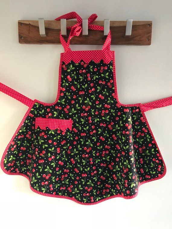 Cherry Retro Style Apron / Aprons for Woman / Womens Apron / Rockabilly Apron / Apron with Po... Cherry Retro Style Apron / Aprons for Woman / Womens Apron / Rockabilly Apron / Apron with Pocket / Cherries Apron,