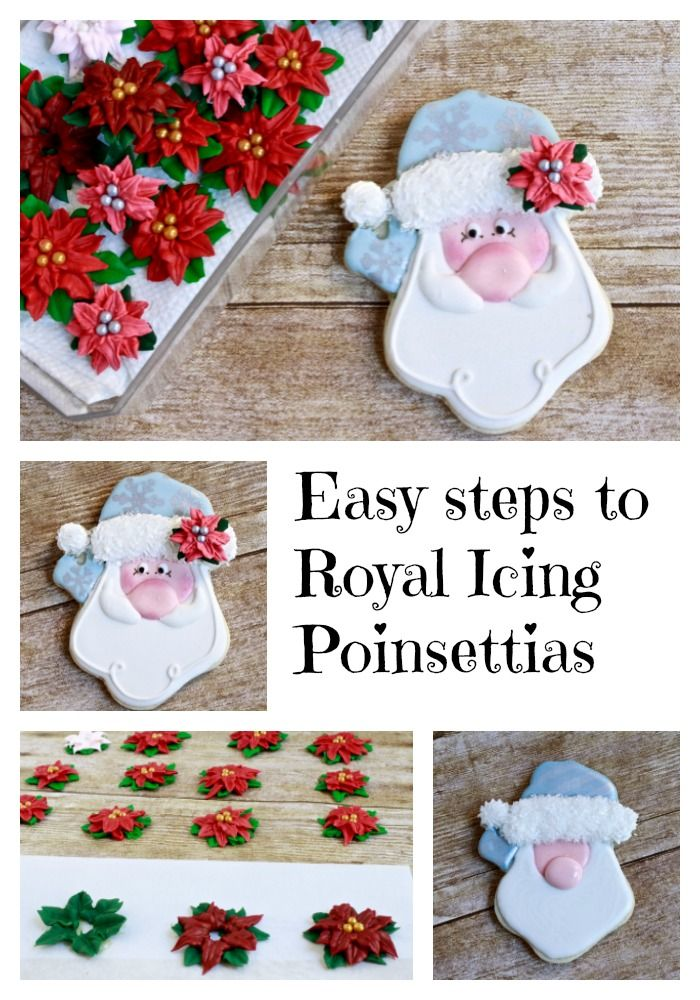 Poinsettias Royal Icing Transfers And A Jolly Santa Iced Cookie Tutorial Royal Icing Transfers Royal Icing Decorations Royal Icing Templates