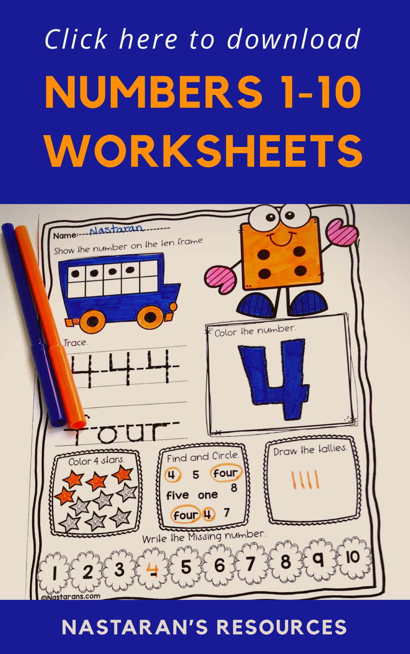 Numbers 1 10 Worksheets For Kindergarten Kindergarten Worksheets Kindergarten Worksheets Printable Math Activities [ 2250 x 1410 Pixel ]
