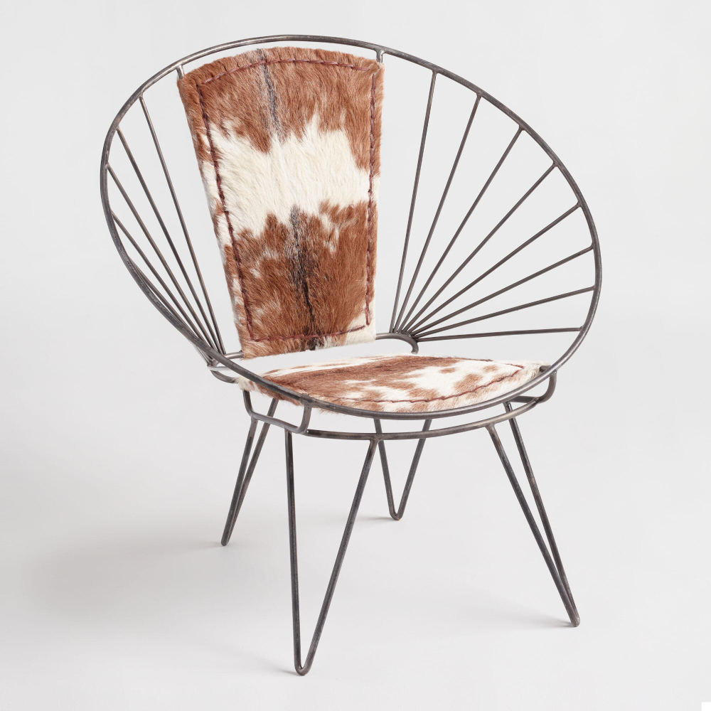 Metal and Goat Hide Chair  World Market  Molded chair, Chair