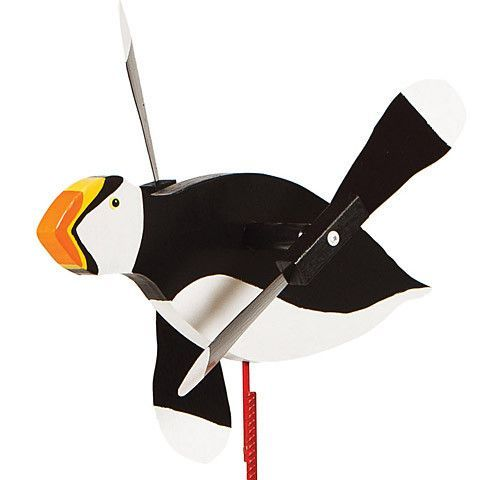 handmade from solid southern cypress and solid brass hardware Puffin Bird Whirligig