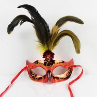 Halloween Upper Half Face Pvc 2016 Limited Real Mask Cocktail Princess Prom Feather Painted Plastic Masks Adults