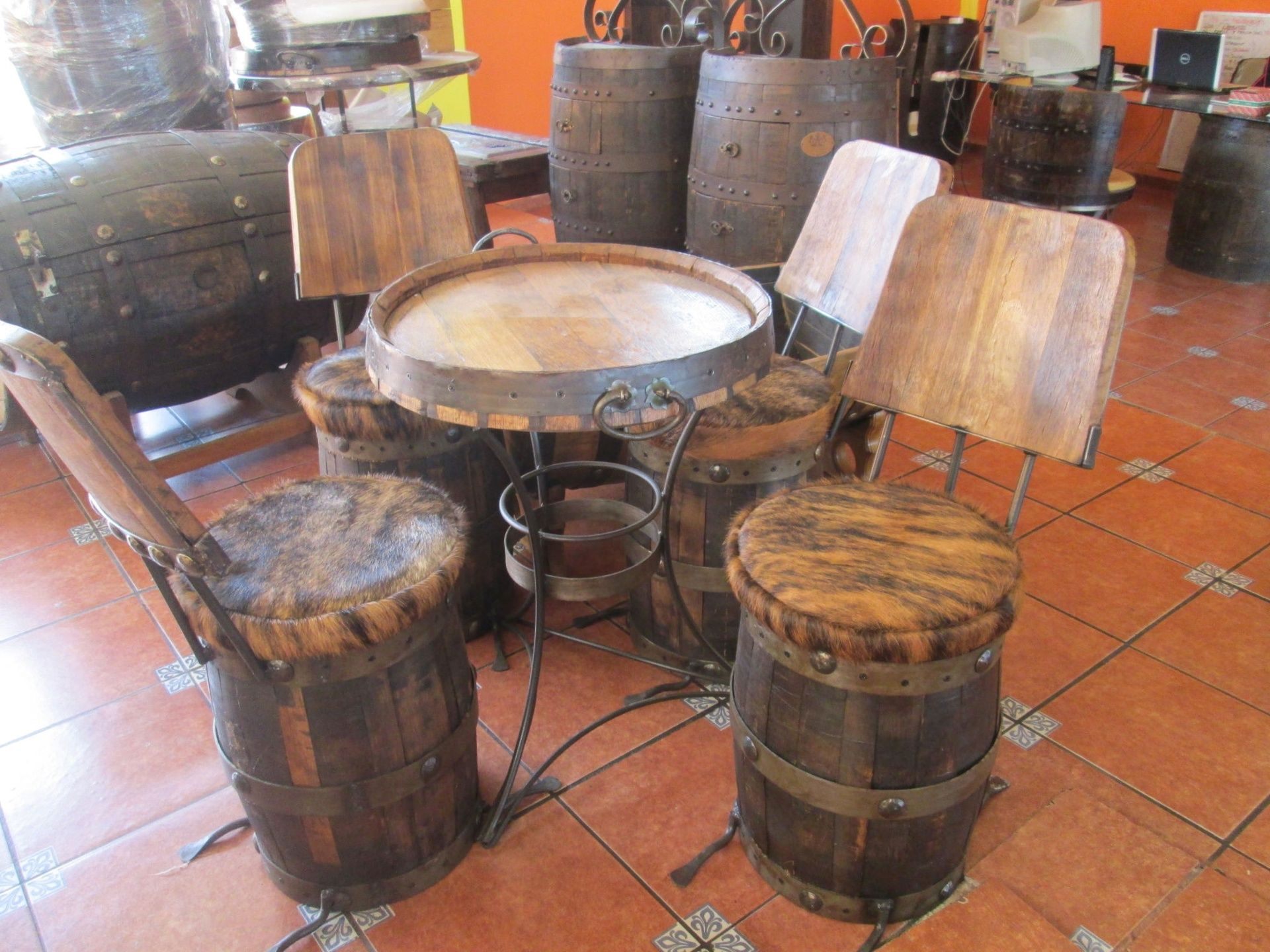 Barrel Furniture Coffee Table With Barrel Stools