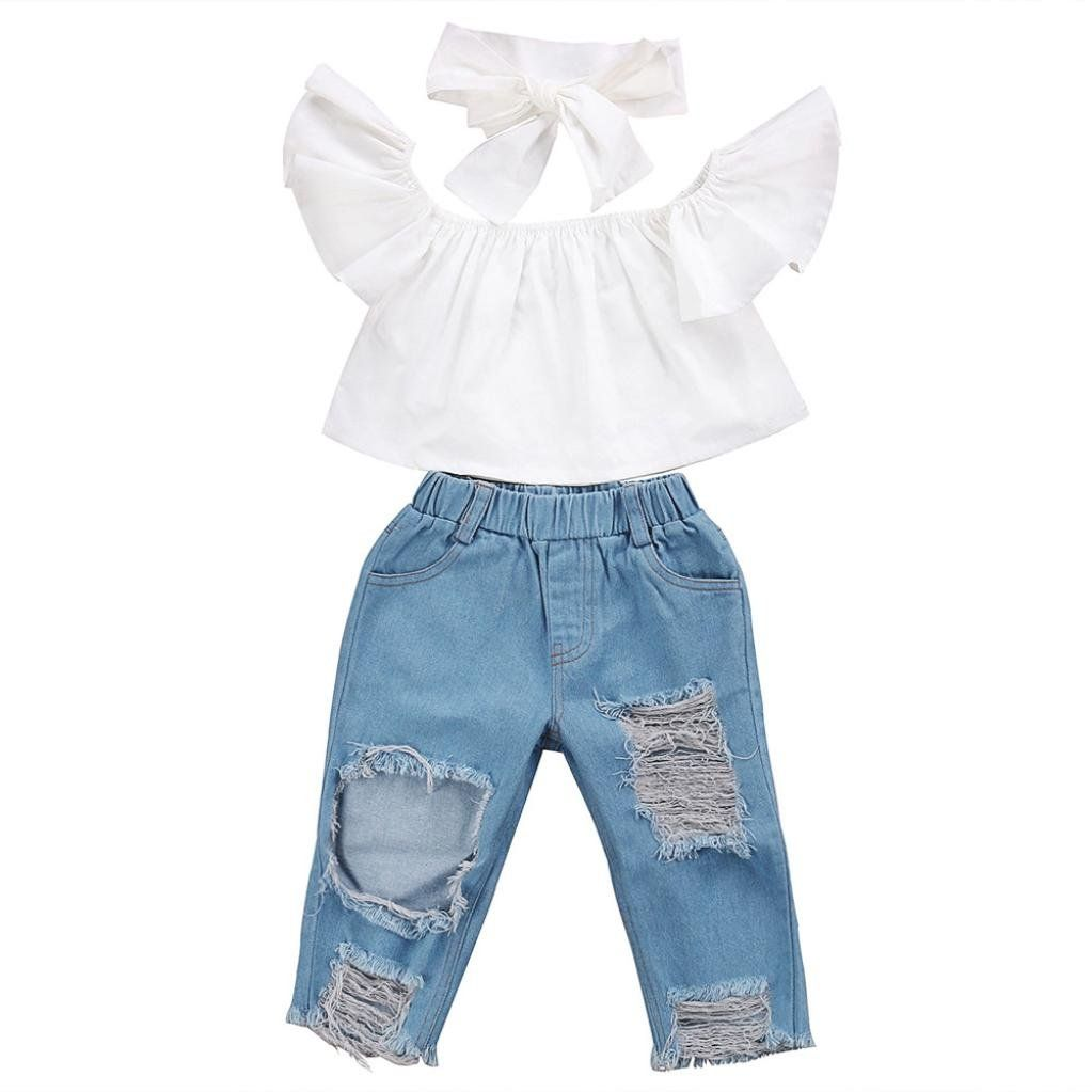 3PCS Kids Girl Leopard Off Shoulder Tops+Denim Pant Jean Headband Outfits Set