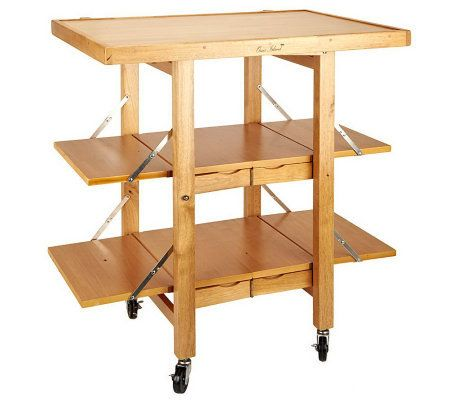 Folding Island Kitchen Cart with Extendable Shelves ...