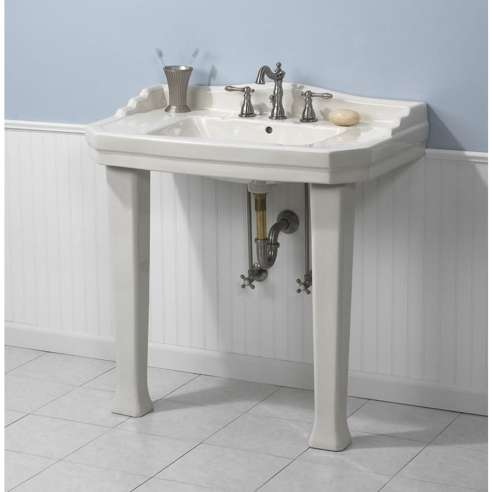 The size and style of this console sink make it a - Home depot bathroom pedestal sinks ...
