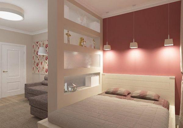 elegant studio apartment ideas stylish bedroom area partition wall ...