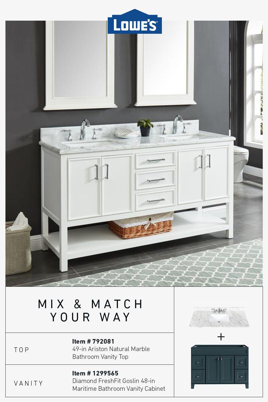 Your Vanity Your Way In 2020 Black And White Tiles Bathroom Unfinished Bathroom Vanities White Bathroom Tiles