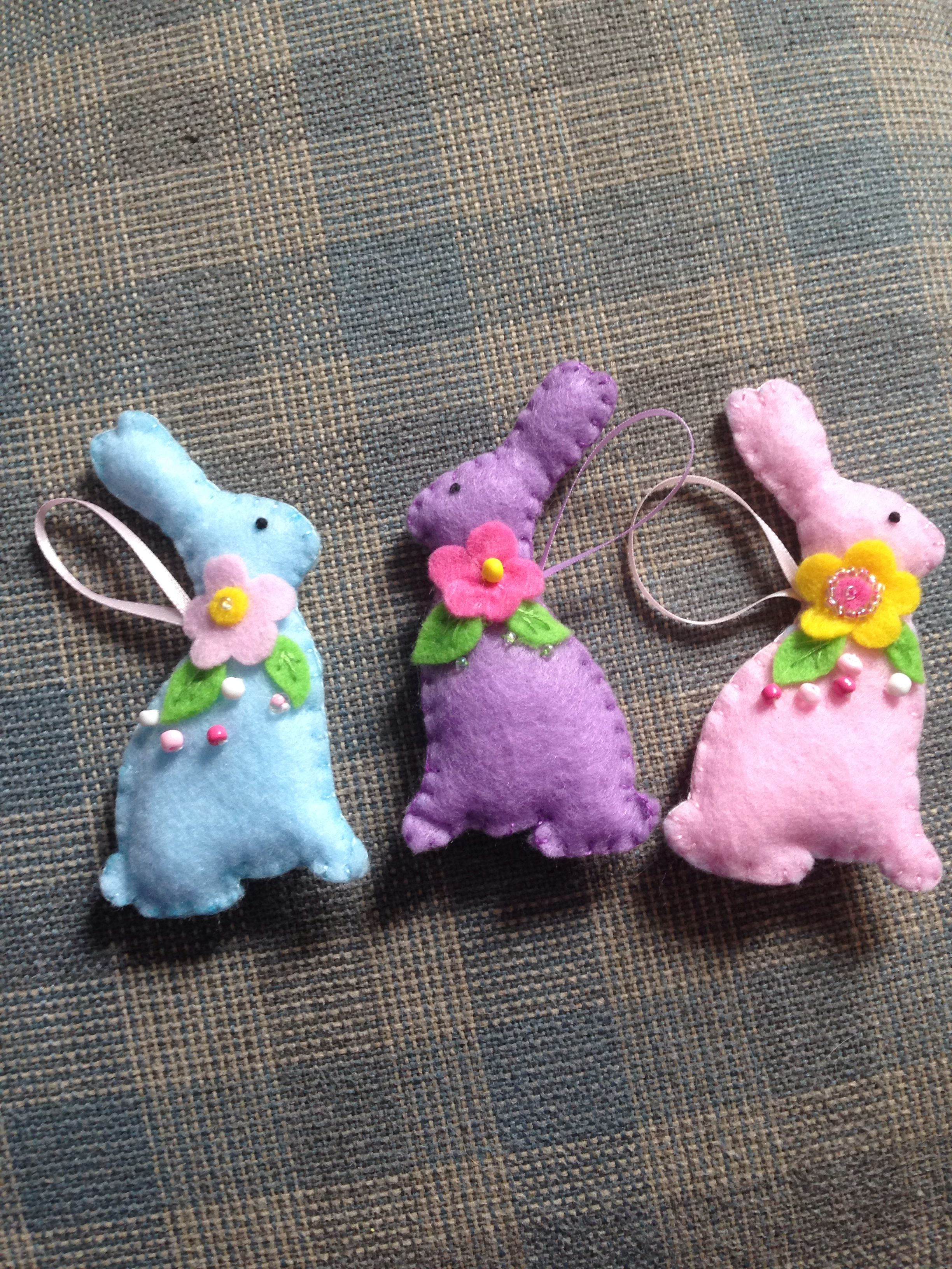 small felted pink-blue wool bunny. Cute colorful ornament easter bunnies