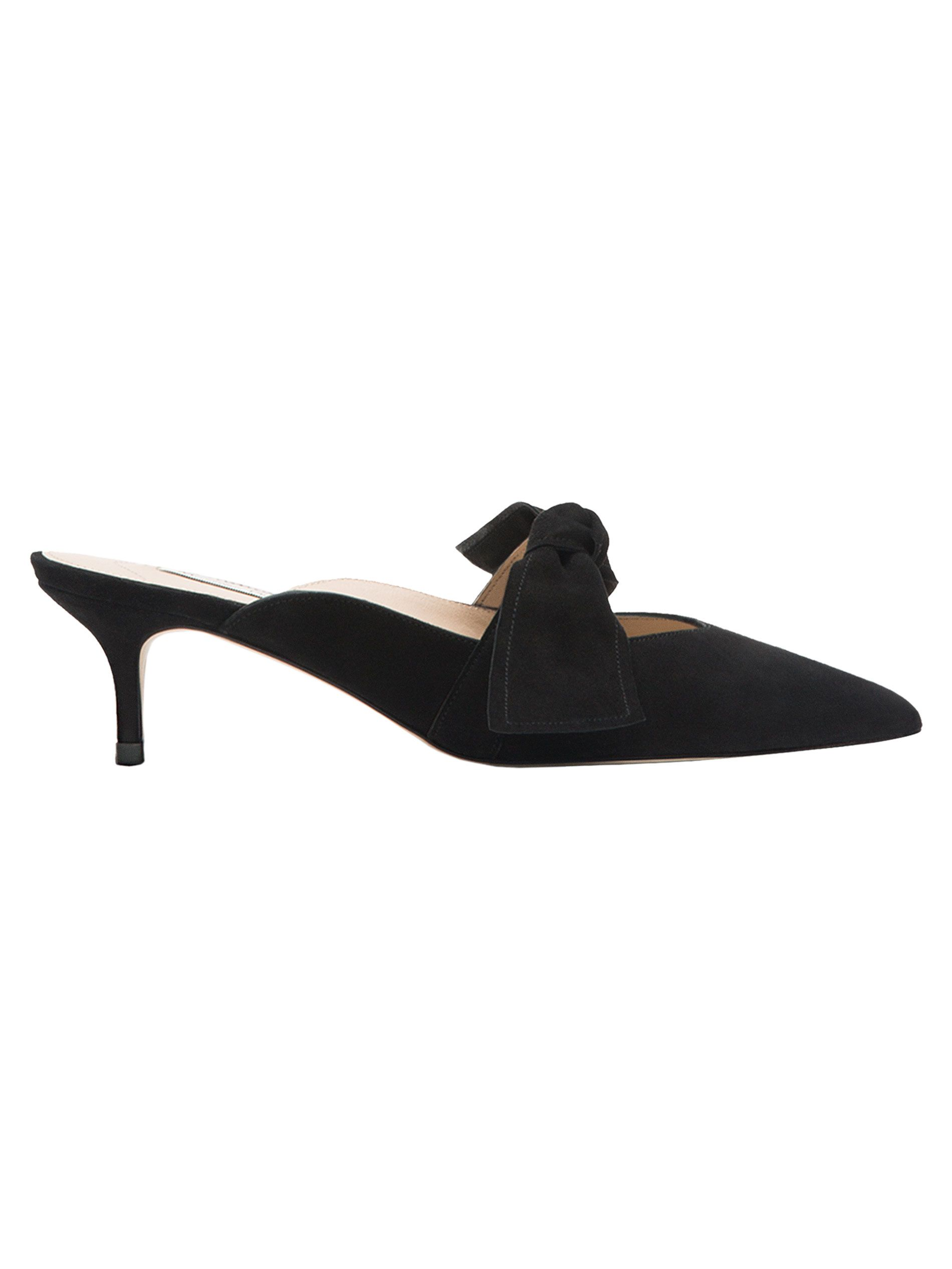 Black heel slingback shoes made from leather with a suede finish. Features a bow detail on the vamp in the same material as the upper and leather inner lining.