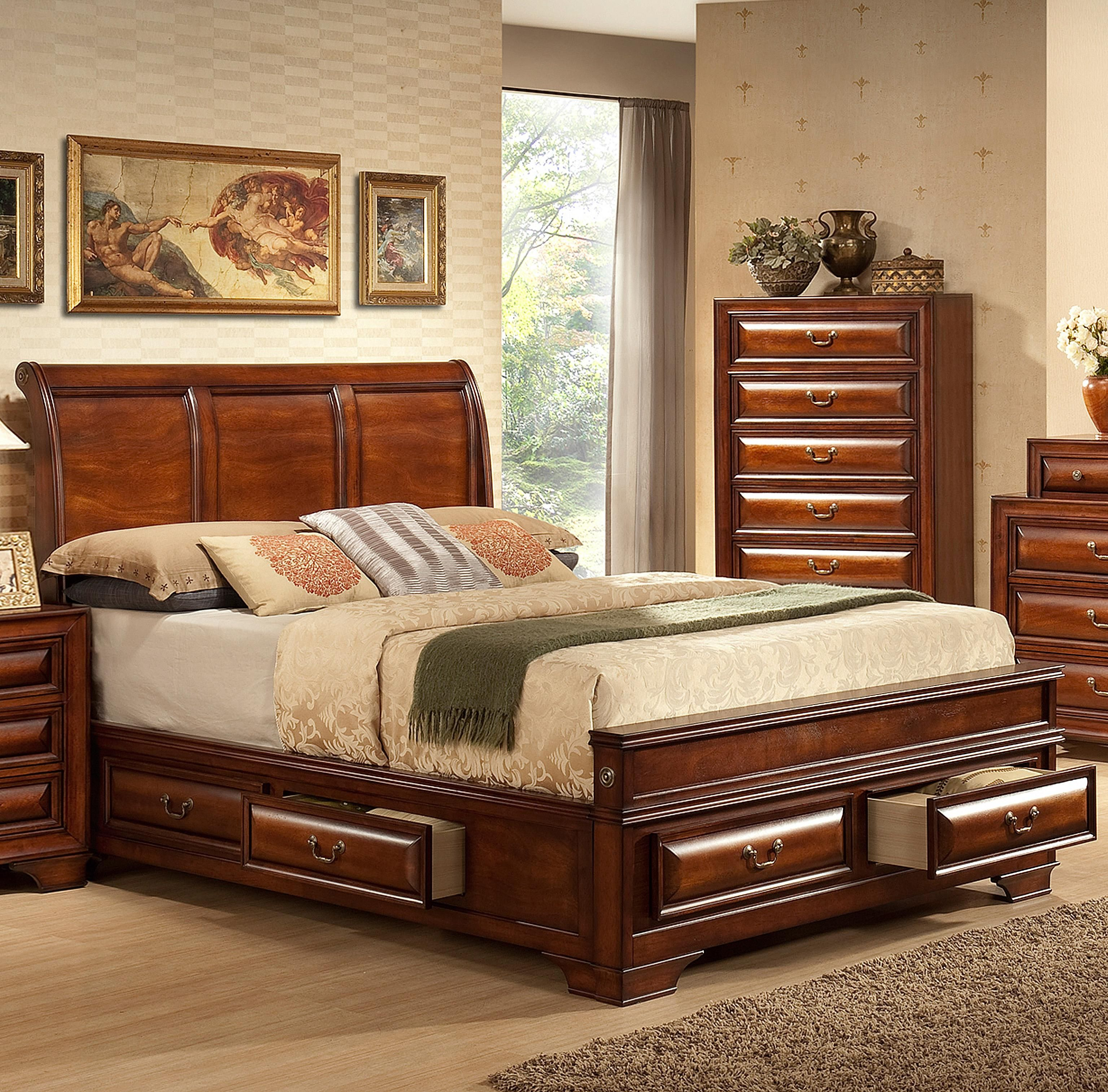 Best B1172 Queen Captain S Bed By Lifestyle Wood Sleigh Bed 400 x 300