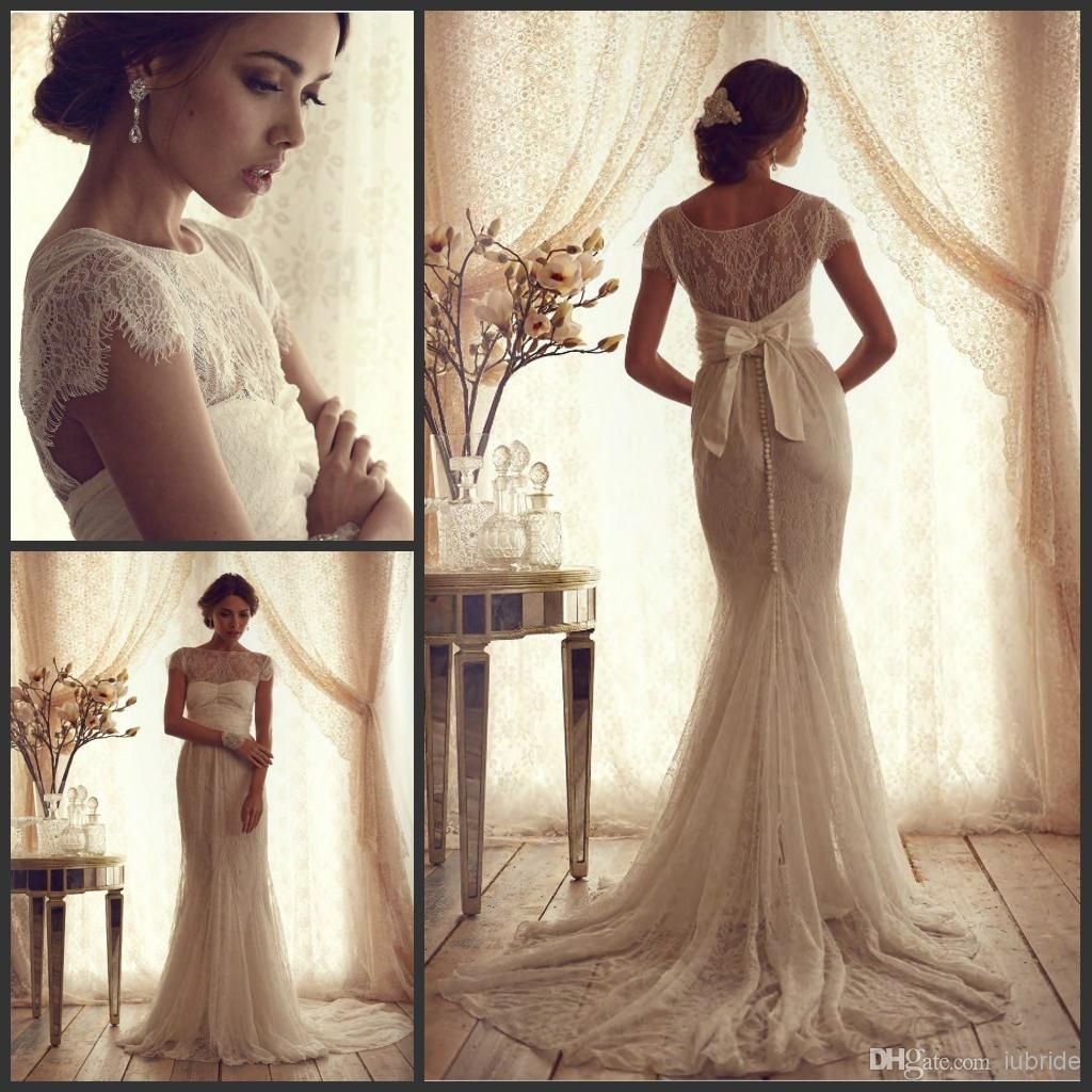 Vintage lace luxury trumpet wedding dresses 2015 new cheap short 2014 luxury white vintage lace wedding dresses bateau neckline cap sleeves sheath bridal dresses court train ombrellifo Gallery